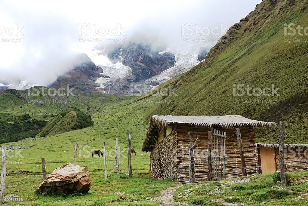 Peruvian Mountains with Shed stock photo