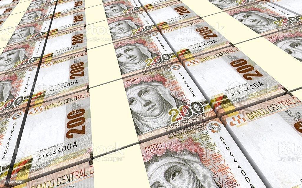 Peruvian nuevos soles bills stacks background. stock photo