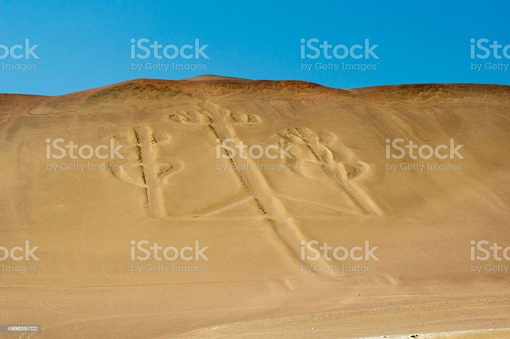 Peruvian Pacific coastline: Paracas and Isla Ballistas, El Candelabro stock photo