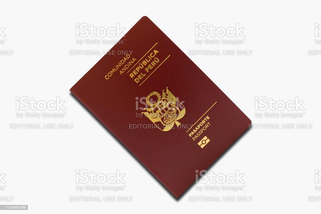 Peruvian passport isolated on a white background stock photo
