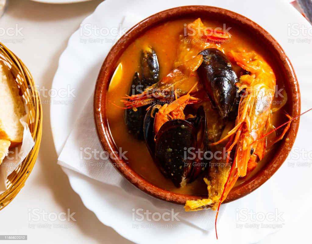 Peruvian Seafood Soup Parihuela Stock ...