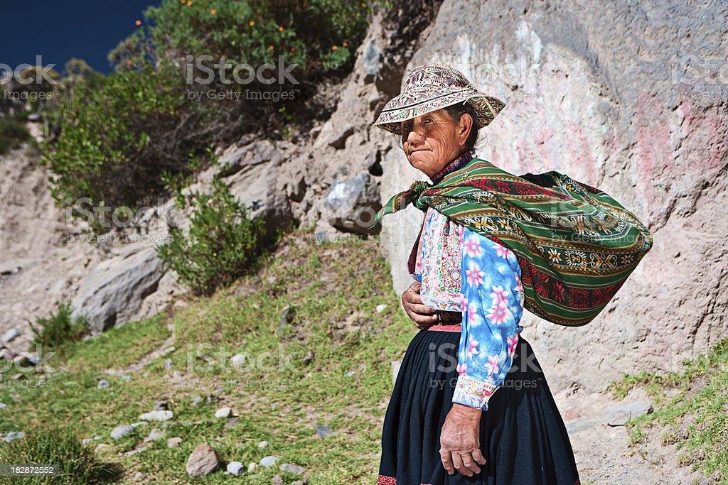 Peruvian woman in national clothing near Colca Canyon, Peru stock photo