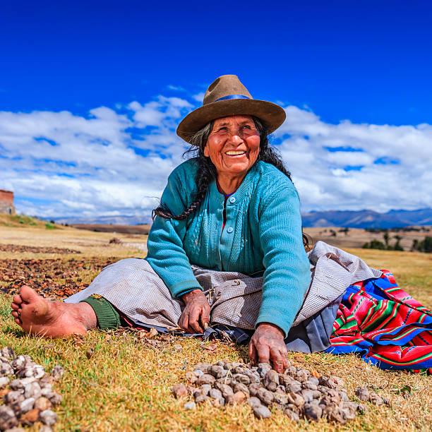peruvian woman preparing chuno - frozen potato, near cuzco,peru - peruvian ethnicity stock pictures, royalty-free photos & images