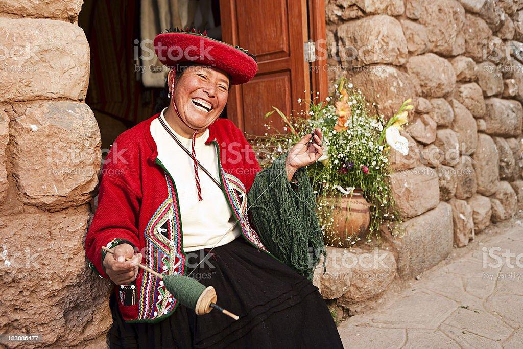 Peruvian woman spinning wool, The Sacred Valley, Chinchero royalty-free stock photo