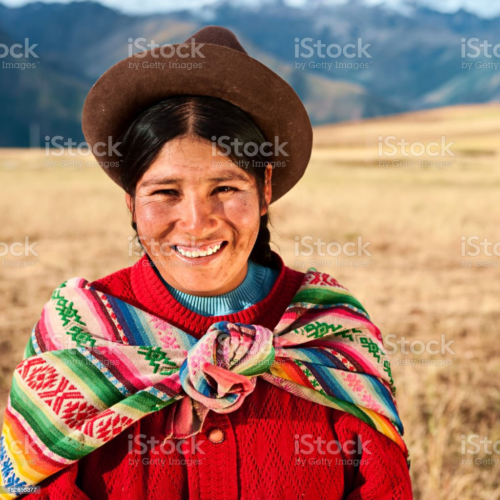 Peruvian woman wearing national clothing, The Sacred Valley, Cuz royalty-free stock photo