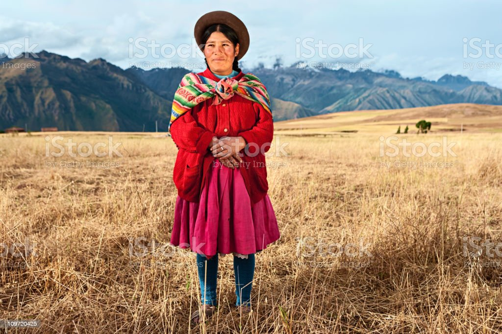 Peruvian woman wearing national clothing, The Sacred Valley stock photo