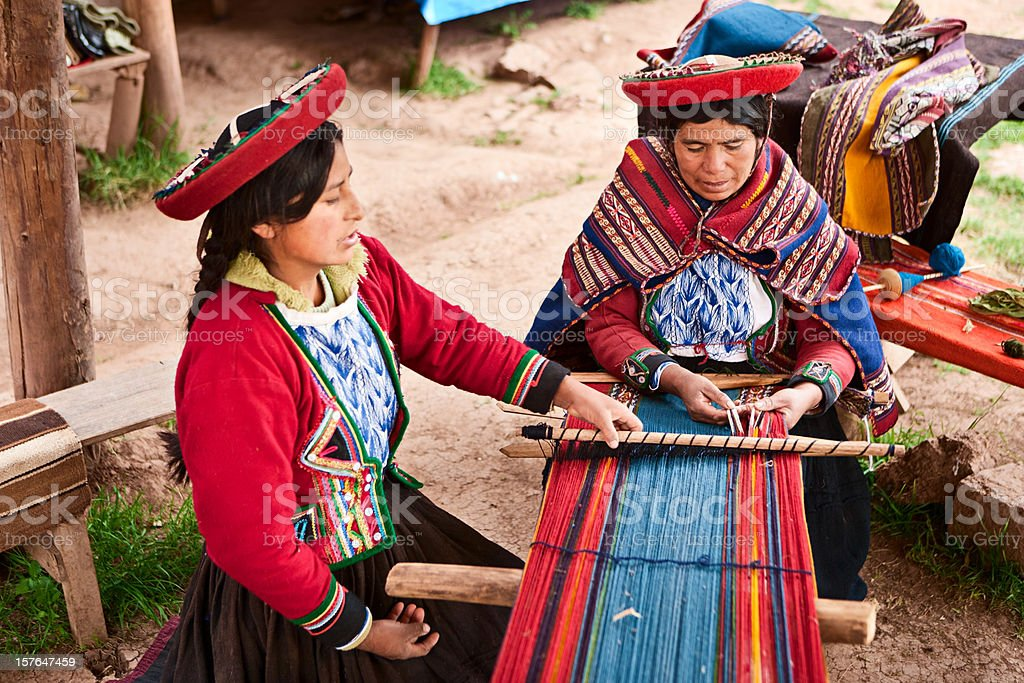 Peruvian woman weaving, The Sacred Valley, Chinchero stock photo