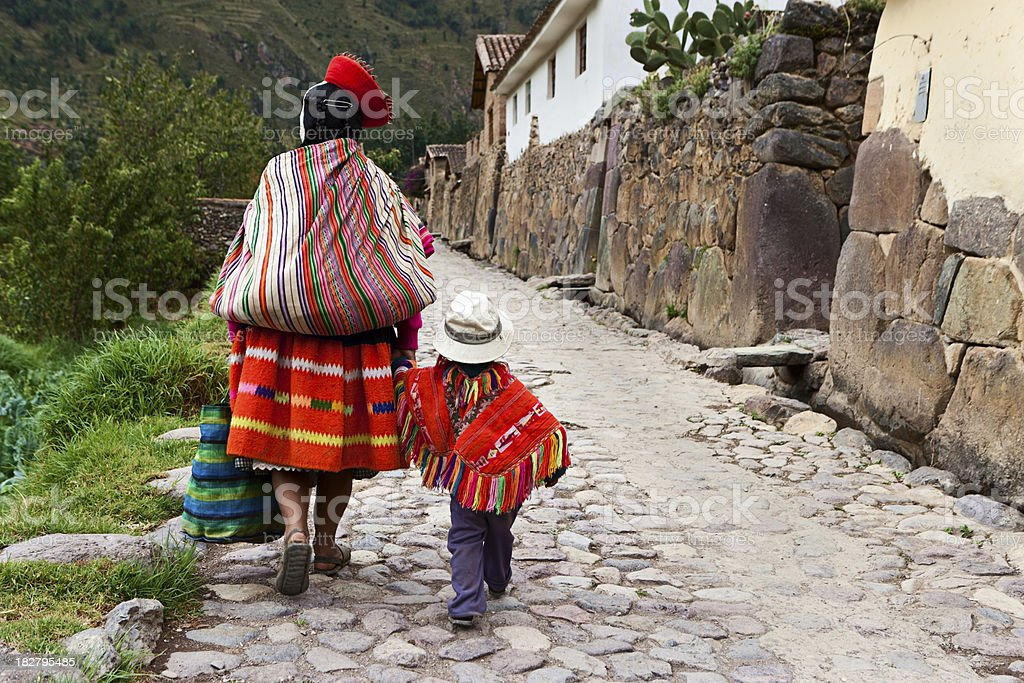Peruvian woman with her baby, The Sacred Valley, Cuzco stock photo