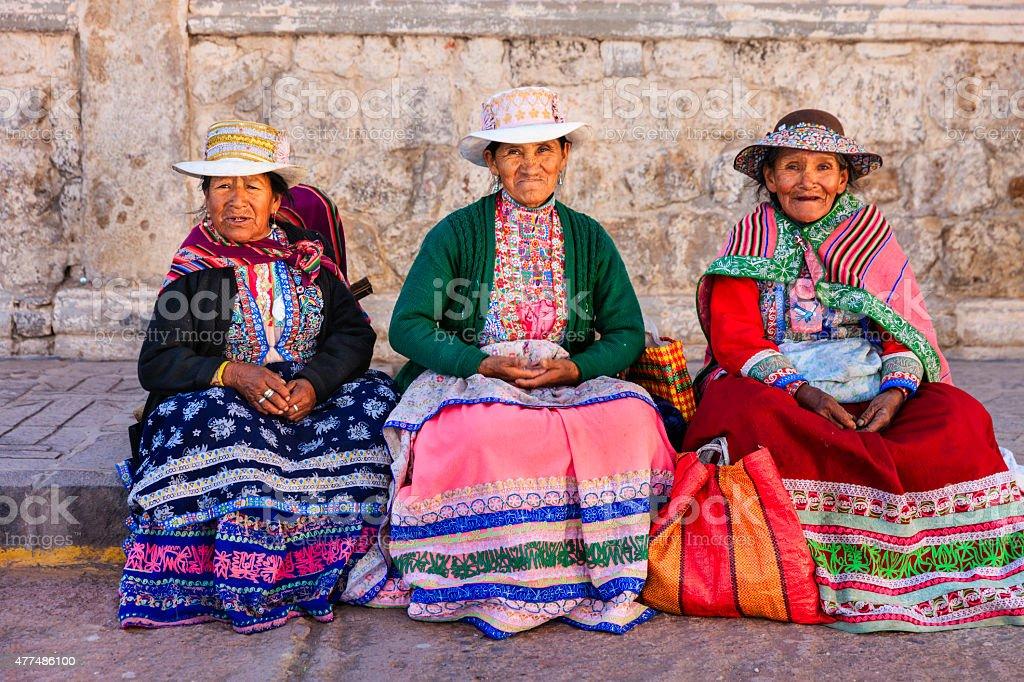 Peruvian women in national clothing, Chivay, Peru stock photo