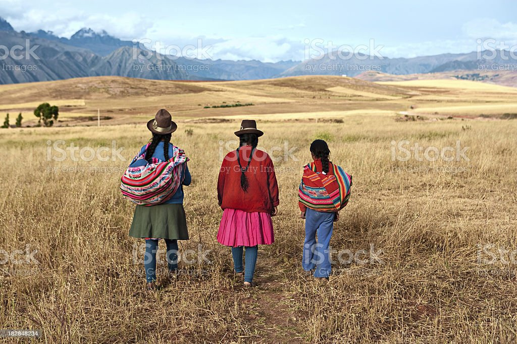 Peruvian women in national clothing, The Sacred Valley, Peru stock photo