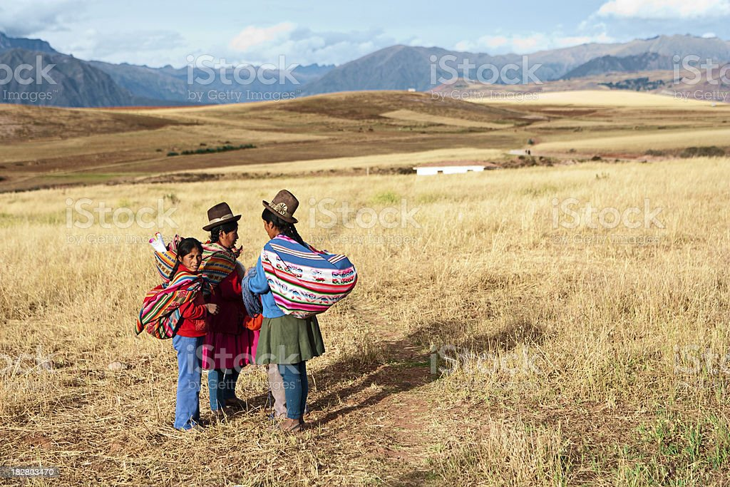 Peruvian women in national clothing, The Sacred Valley stock photo