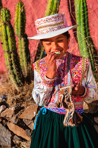 Peruvian young girl in traditional clothing, chewing coca leaves near Chivay town. Chivay is a town in the Colca valley, capital of the Caylloma province in the Arequipa region, Peru. Located at about 12,000 ft above sea level, it lies upstream of the renowned Colca Canyon. It has a central town square and an active market. Ten kilometers to the east, and 1,500 meters above the town of Chivay lies the Chivay obsidian source. Thermal springs are located 3 km from town, a number of heated pools have been constructed. A stone