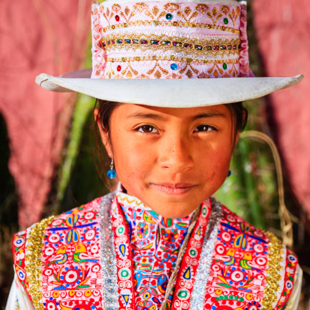 peruvian young girl in national clothing, chivay, peru - peruvian ethnicity stock pictures, royalty-free photos & images