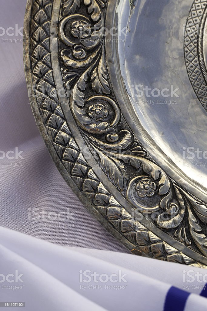 Pesach Dinner Silver Dish royalty-free stock photo