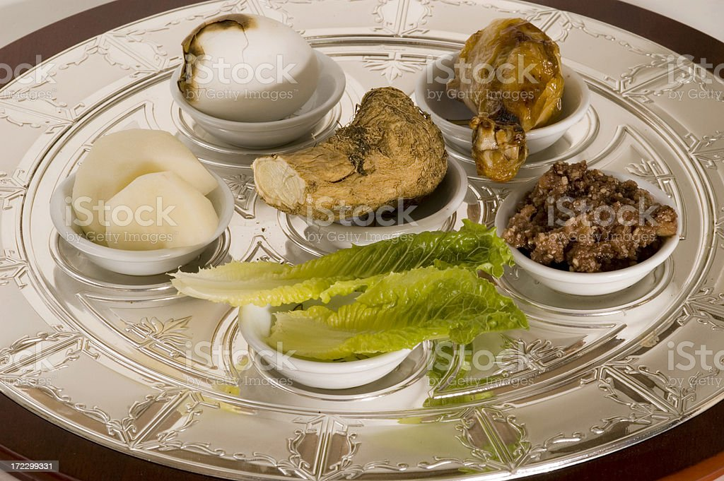 pesach seder plate 3 stock photo