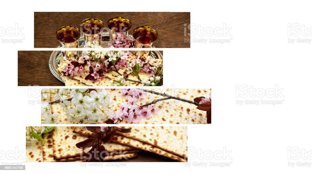 Pesah celebration concept jewish Spring holiday of Passover in hebrew: Passover Haggadah stock photo