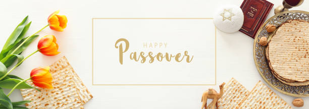Pesah celebration concept (jewish Passover holiday). Top view, flat lay – zdjęcie