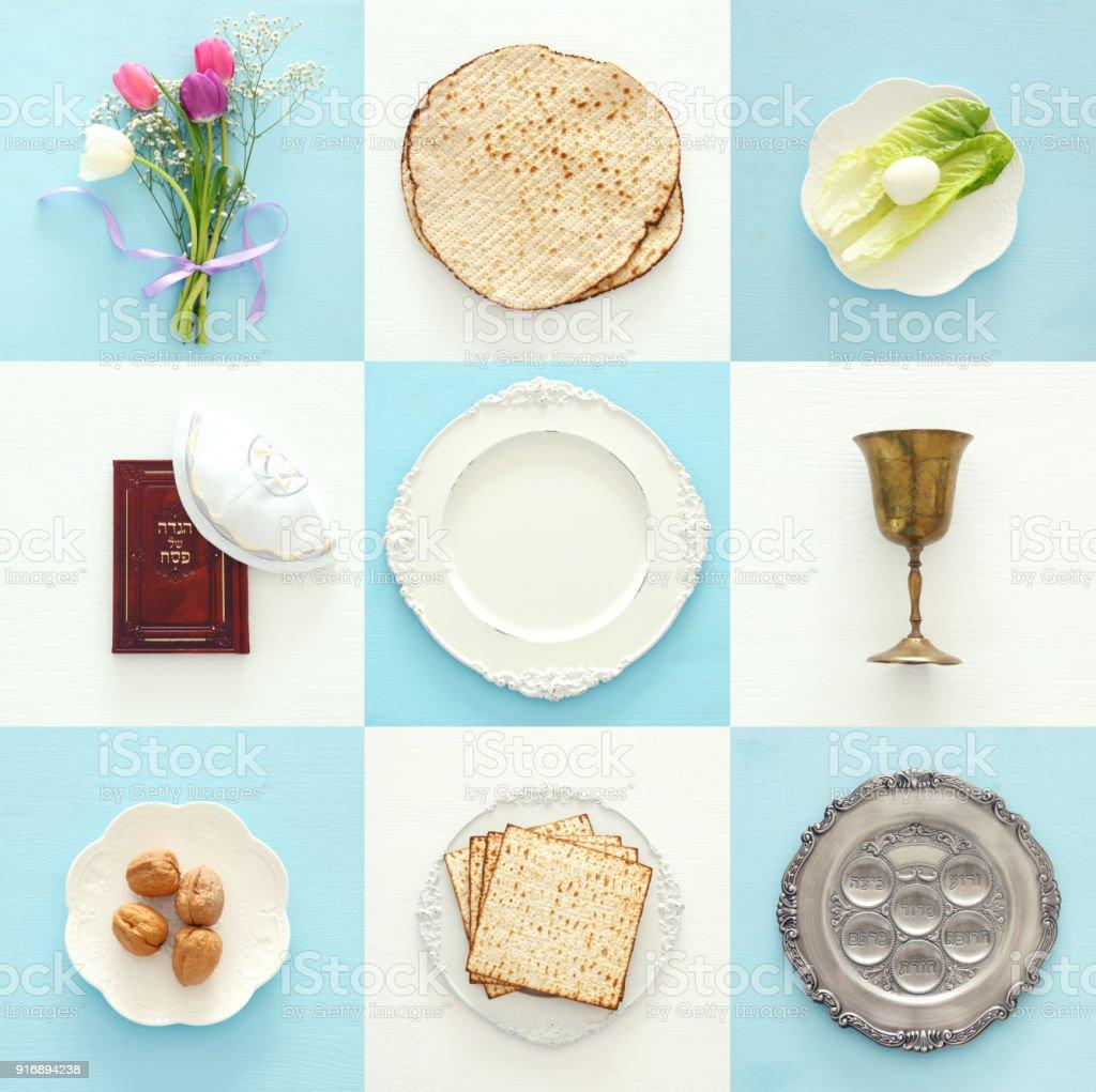 Concepto de celebración de Pesah (festividad de la Pascua judía). Libro tradicional con texto en Hebreo: Hagadá de Pésaj (Pascua cuento). - foto de stock