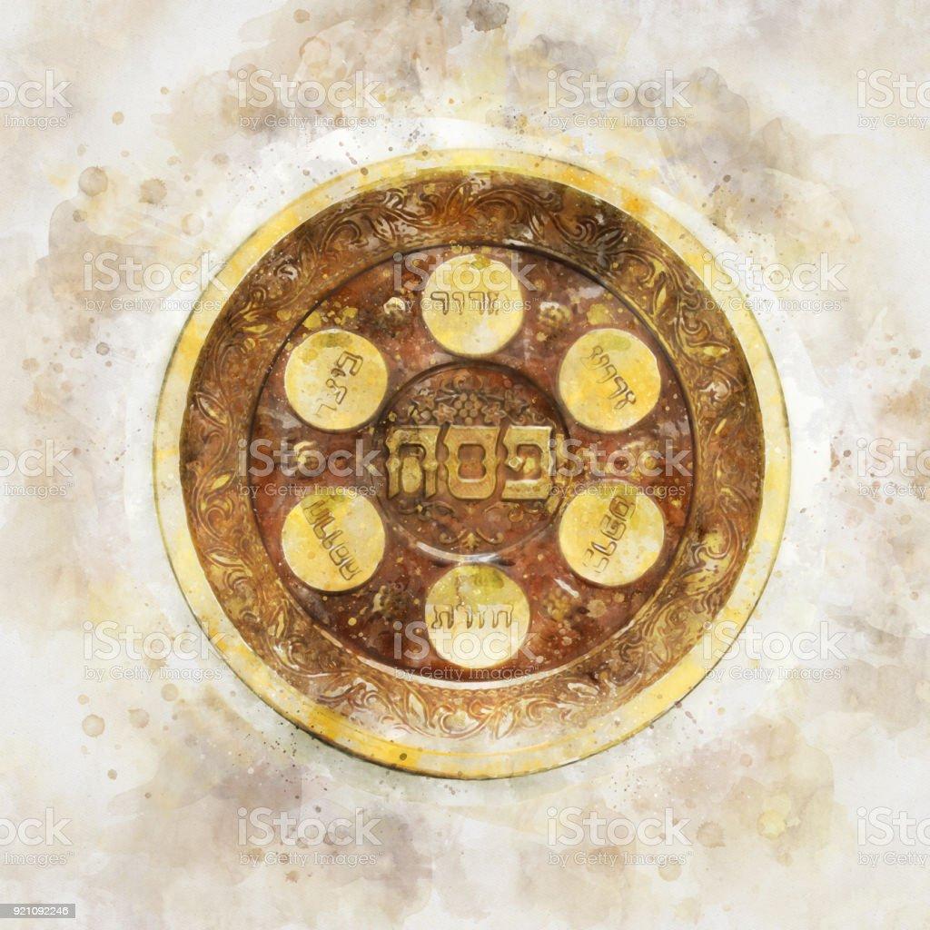 Pesah celebration concept (jewish Passover holiday). Traditional pesah plate text in hebrew: Passover, horseradish, celery, egg, bone, maror, charoset. stock photo