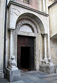 Pescheria doorway, porta della pescheria. Cathedral of Modena.