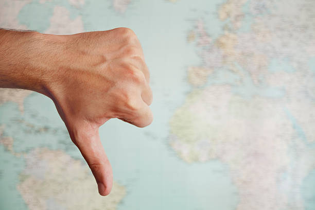 pessimistic map - thumbs down stock photos and pictures