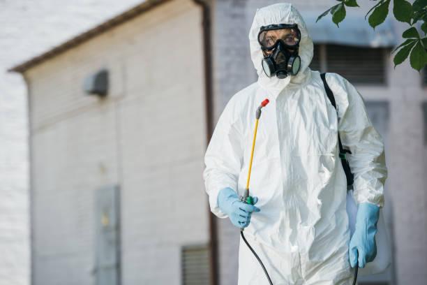 pest control worker in respirator holding sprayer - attrezzatura per la disinfestazione foto e immagini stock