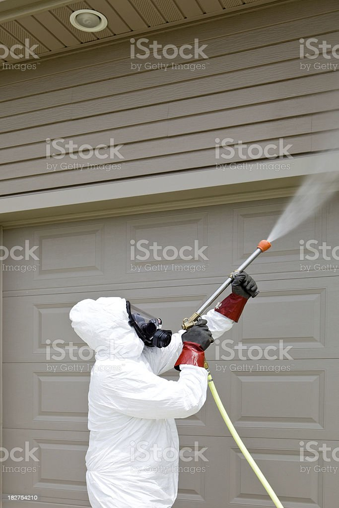 Pest Control Worker Spraying Insecticide on a Home's Garage royalty-free stock photo