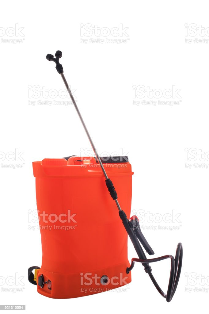 Pesticide, herbicide sprayer for working in the garden and vegetable garden isolated on a white background stock photo