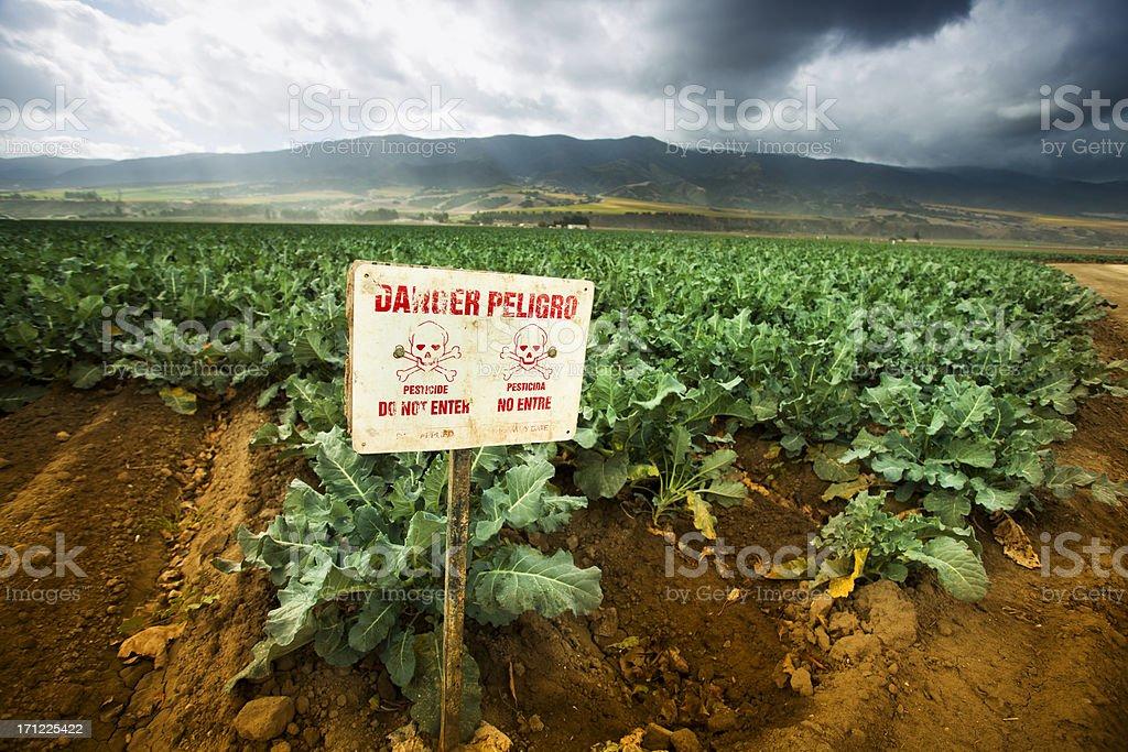 Pesticide sinal de alerta na fértil agrícola