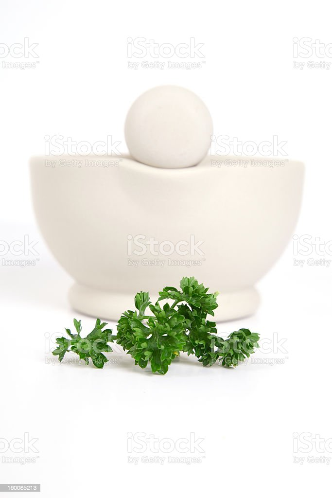 Pestle & Mortar with Parsley royalty-free stock photo