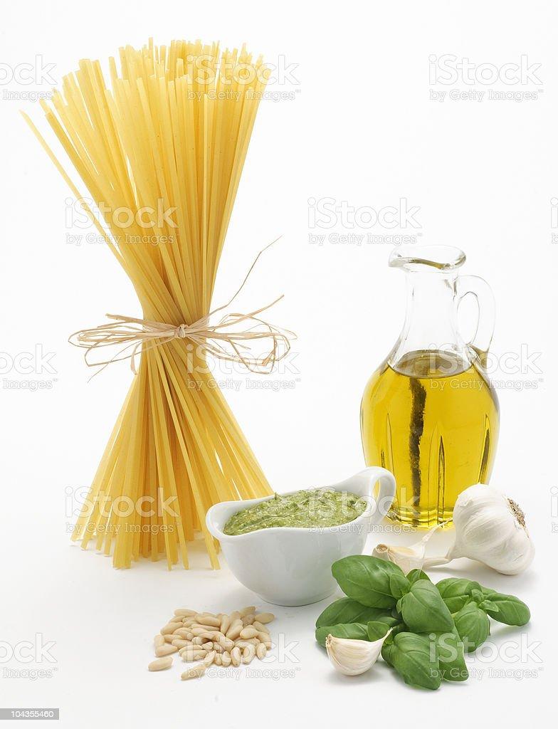 Pesto ligure e trenette royalty-free stock photo