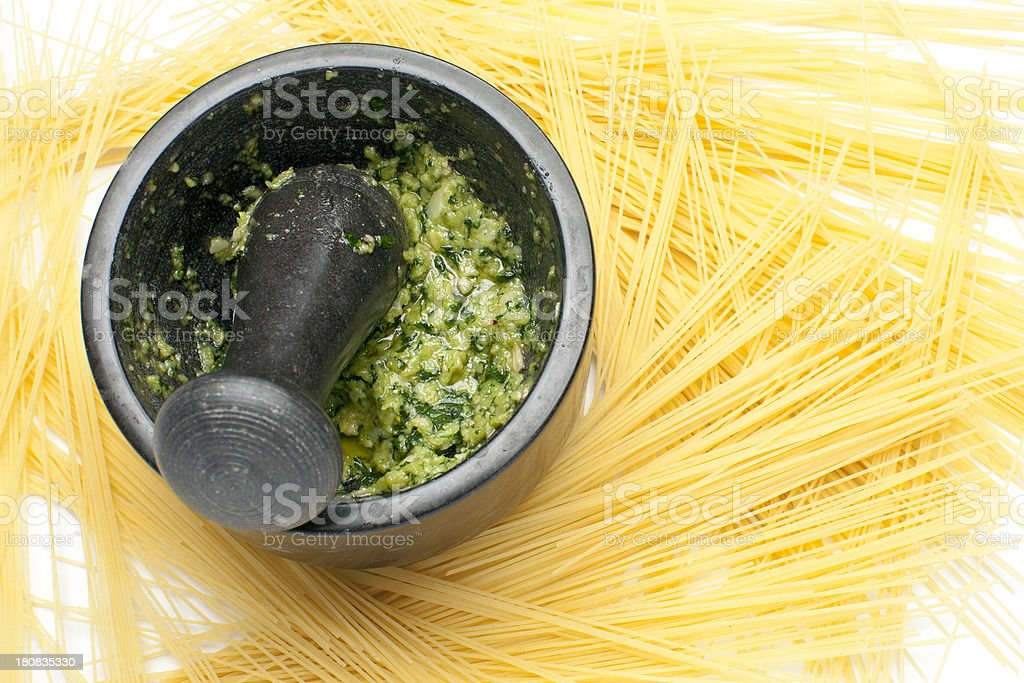 Pesto pasta. royalty-free stock photo