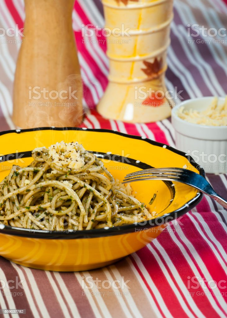 pesto pasta royalty-free stock photo