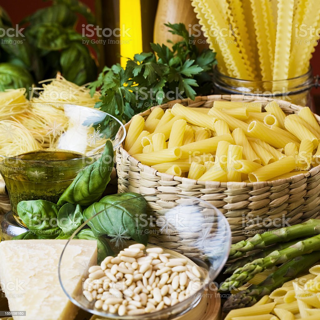 Pesto sauce ingredients and spaghetti. royalty-free stock photo