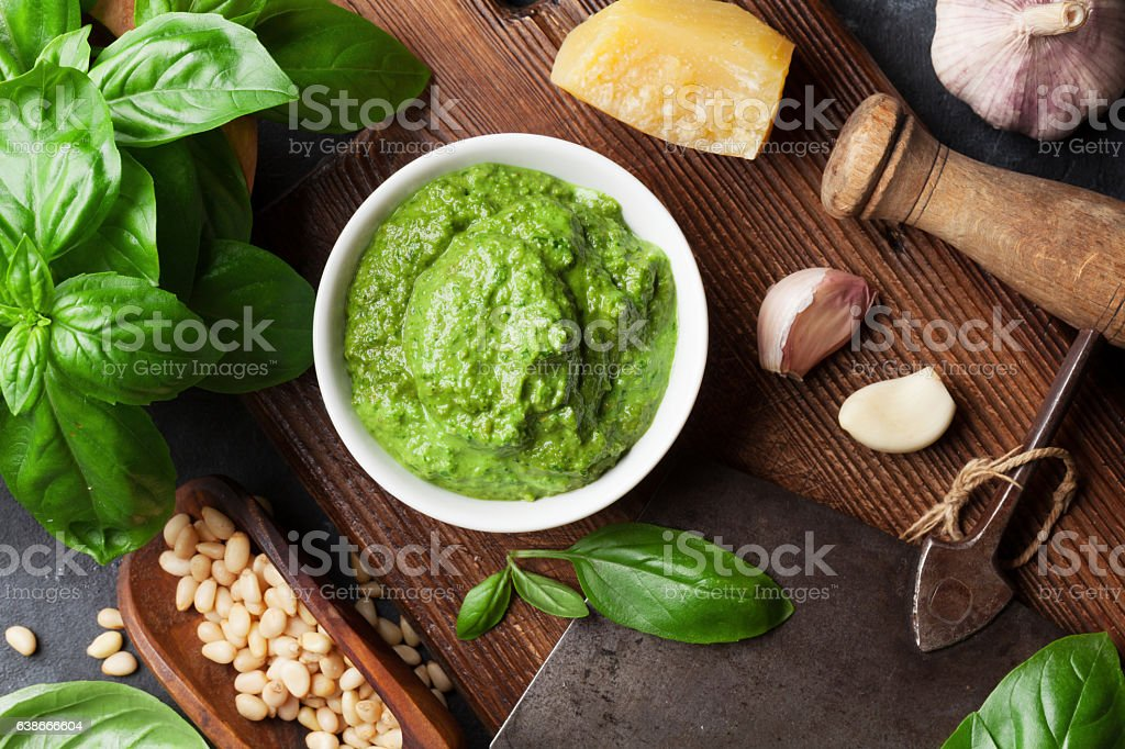 Pesto sauce ingredients stock photo