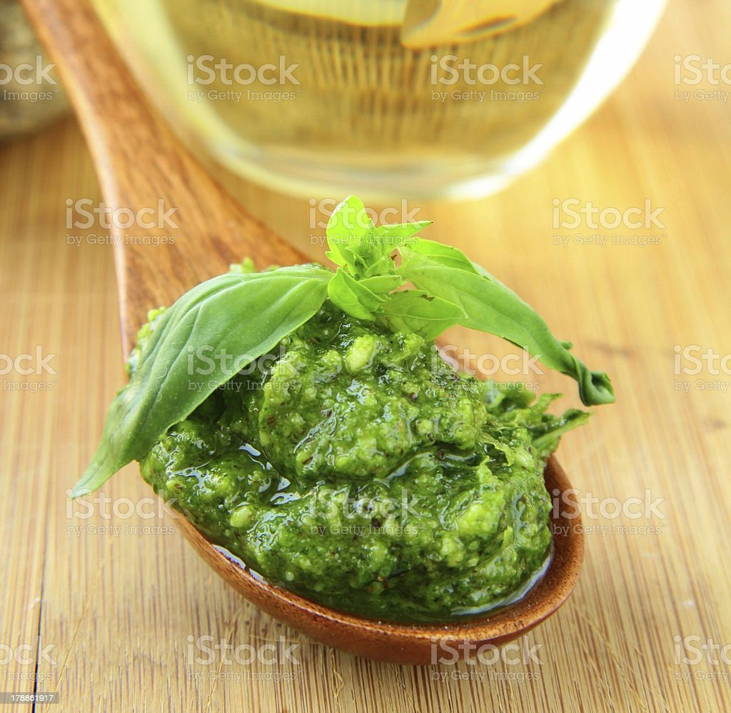 pesto sauce with fresh green basil royalty-free stock photo
