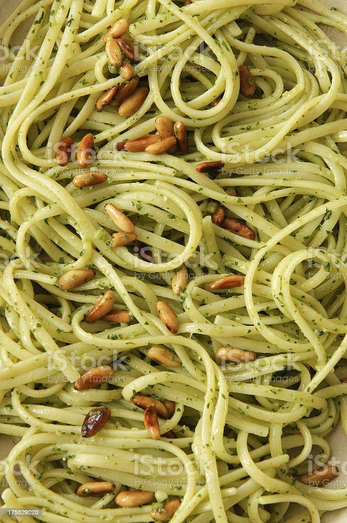 pesto spaghetti royalty-free stock photo