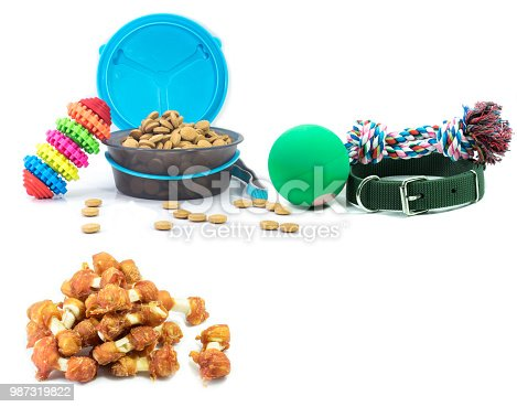 istock Pet accessories concept.  Dry food, collars and rubber toys for pet on isolated white background. 987319822