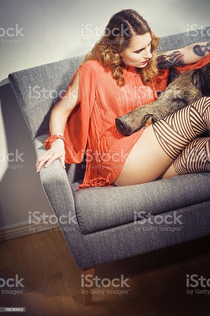 pet boar und attraktive lady - Lizenzfrei Wildschwein Stock-Foto