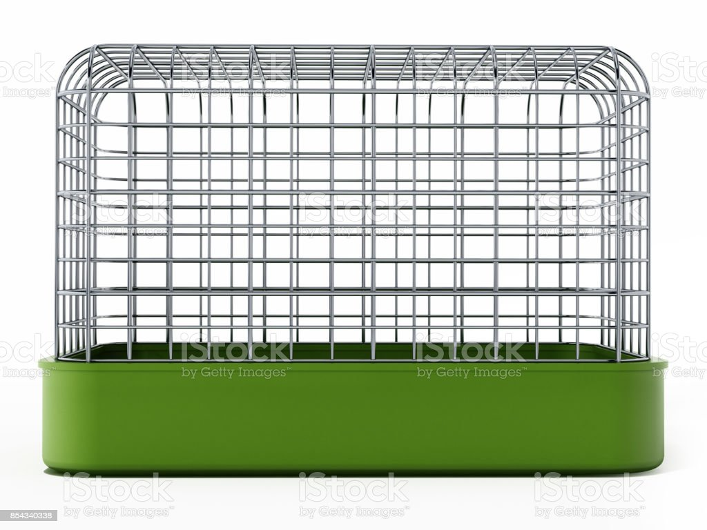 Pet cage isolated on white stock photo