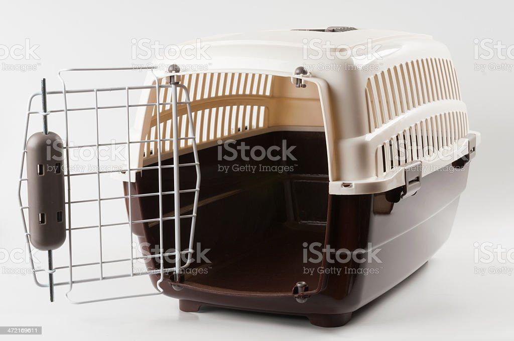Pet carrier opened stock photo