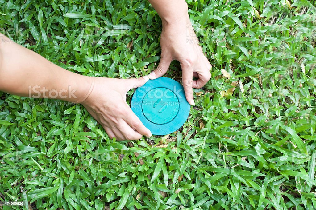 Pet control puttine Termite bait system in to the ground stock photo