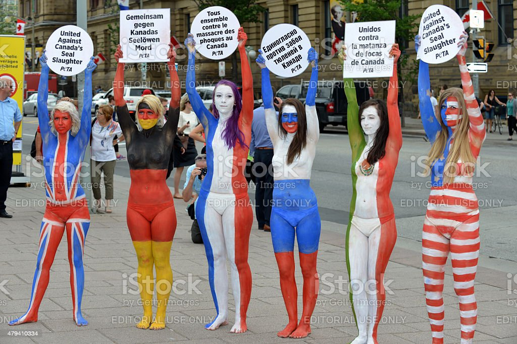 Peta protesters stock photo