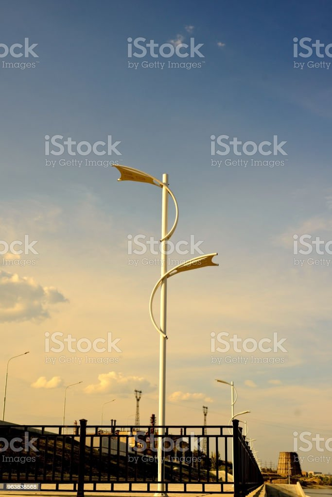 Petal led street lamp, economical stock photo