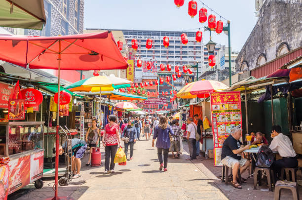 Petaling Street is a china town which is located in Kuala Lumpur,Malaysia.It usually crowded with locals as well as tourists. stock photo