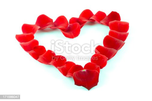 heart shape made of red rose petalssee my