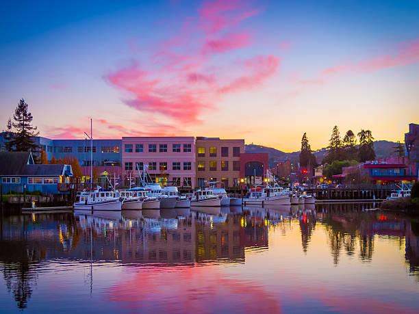 Petaluma Harbor Reflections Yachts berth in the Petaluma River turning basin under an autumn sunset sonoma stock pictures, royalty-free photos & images