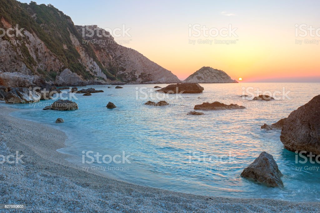 Petani Beach at sunset, Kefalonia, Greece stock photo