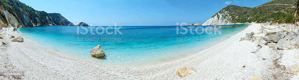Petani Beach summer panorama (Kefalonia, Greece) stock photo