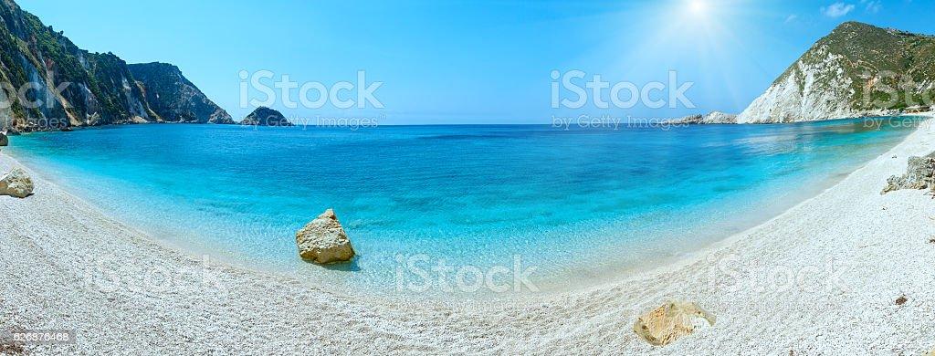 Petani Beach summer sunshiny panorama (Kefalonia, Greece) stock photo